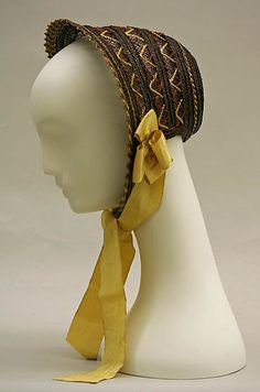 Bonnet Date: ca. 1842 Culture: British Medium: straw, silk Dimensions: Height (of crown): 4 in. (10.2 cm)