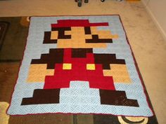 Crochet Super Mario blanket by NeedlesnClayCrafts on Etsy
