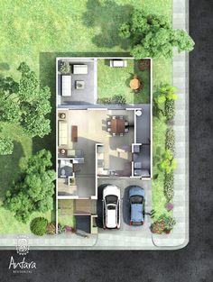 Planos de Casas y Plantas Arquitectónicas de Casas y Departamentos: Plano de casas de dos pisos con terraza al frente