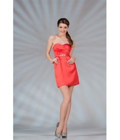 Coral Satin Short Prom Dress