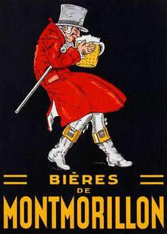 Bières de Montmorillon   Vintage food & drink poster   Retro advert #Vintage #Posters #Affiches #Food #Drinks #Carteles #deFharo #Ads