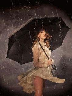 Девушка под зонтом - анимация на телефон №1346700