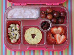Heart-y Happy Nuts yumbox bento Cute Lunch Boxes, Bento Box Lunch, Lunch Snacks, Bento Lunchbox, Kids Lunch For School, Healthy School Lunches, School Snacks, American Lunch Food, Valentines Healthy Snacks