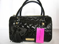 Betsey Johnson Purses | Betsey Johnson Betseyville Be Mine Black Boston Quilted Hearts Bag ...