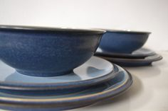 SOLD***Denby Blue Jetty Dinner and Salad Plates and by TsEclecticCorner, $45.00