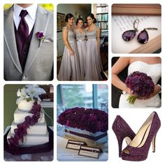 Grey and dark plum wedding! In love with with the grooms tux and bridesmaid dress!