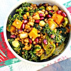 Garlic Roasted Butternut Squash and Kale Wheat Berry Salad with Pomegranates