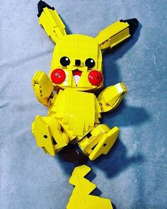 """With all the Pokemon craze, here's """"Pikachu"""" built by Korean builder zkdlals. - for Oliver - Lego Pokemon Lego, Pokemon Room, Big Lego, Cool Lego, Pikachu, Diy Projects For Teens, Diy For Teens, Lego Hacks, Alex Craft"""