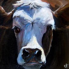 Cow Painting- Claire the Hereford - Print on Paper or Canvas by ArtPaperGarden on Etsy https://www.etsy.com/listing/54287255/cow-painting-claire-the-hereford-print