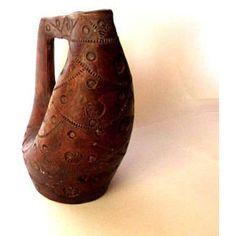 Pottery handmade. Vintage pitcher. Pottery pitcher. Ceramic pitcher. ($26) ❤ liked on Polyvore featuring home, kitchen & dining, serveware, brown pottery pitcher, water pitcher, pottery water jug, vintage jugs and pottery pitcher