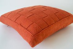 Orange Pillow  Felt Weave Pillows Throw Pillow by AmoreBeaute
