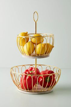 Gold Wire Two-Tier Fruit Basket by Anthropologie in Gold, Kitchen Tiered Fruit Basket, Fruits Basket, Fruits And Veggies, Vegetables List, Seasonal Fruits, Colorful Centerpieces, Elegant Centerpieces, Kitchen Corner, Kitchen Dining
