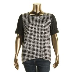 Kensie Womens Houndstooth Hi-Low Blouse