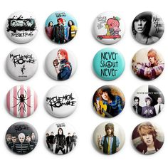 My Chemical Romance / Never Shout Never Pinback Buttons 16Pcs 1.25... (135 ZAR) ❤ liked on Polyvore featuring buttons, my chemical romance, band merch, jewelry and mcr
