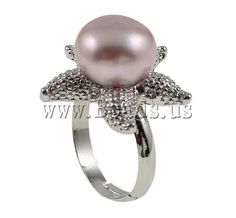 Cultured Freshwater #Pearl #Finger #Ring, with brass ring setting, star design, purple, nickel  http://www.beads.us/product/Cultured-Freshwater-Pearl-Finger-Ring_p44129.html?Utm_rid=219754