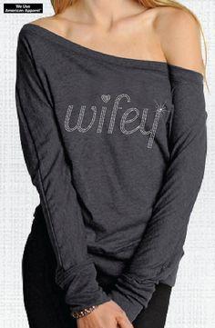 Wifey Rhinestone Charcoal  Off-Shoulder Long Sleeve Tee S-XXL