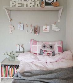 Girl's bedroom | Soft grey walls; easy to personalise with pink decorations and bedlinen + easy to update if she grows out of pink in a few years' time... | live from IKEA FAMILY