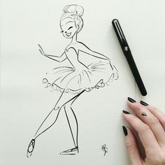 Whoops, forgot to finish my inktober yesterday. ill try for two today. Inktober day I use a Pentel pocket brush pen. Ballet Drawings, Dancing Drawings, Art Drawings Sketches, Cartoon Drawings, Cartoon Art, Easy Drawings, Pencil Drawings, Pentel Pocket Brush Pen, Dance Art