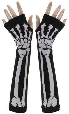 Fashion Punk Skull GOTHIC Goth Horror Mens Womens Misfit White/Green/Rose-red Skeleton Bones Fingerless Black Work Gloves Alternative Measures