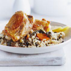 Chaudronn�e de poulet et de bette � cardes avec riz brun