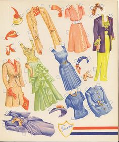 The Army and Navy Wedding Paper Dolls are a set of cut-out dolls from 1943. They are Saalfield #2446. The theme is very patriotic and romantic!