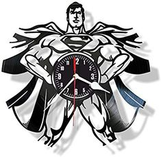 Superman Comics character superhero vinyl wall clock- Modern room decor - Unique Handmade gift for friends and someone you love Vinyl Record Crafts, Vinyl Record Clock, Vinyl Records, Clock Craft, Diy Clock, Superman Comic, Batman, Galaxy Decor, Modern Room Decor