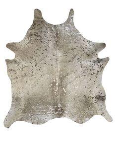 Metallic Silver on Grey Cowhide Rug