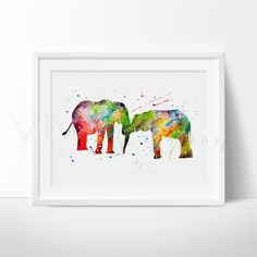 Elephant Family 2 Watercolor Art Print