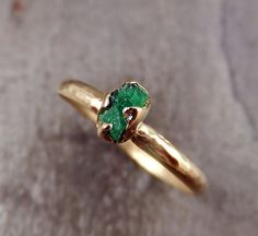 Raw Emerald Engagement Ring Wedding ring Promise Ring 14K gold green uncut rough gemstone recycled gold stacking statement byAngeline