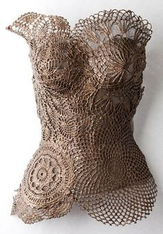 """(Note to self) attach doilies to a cream colored corset (or tank top) to try to recreate this. Could end up being very cool """"Gypsy Boho Chic Steampunk ! Art Mannequin, Mannequin Torso, Manequin, Belly Casting, Crochet Art, Freeform Crochet, Crochet Patterns, Dress Form, Mode Inspiration"""