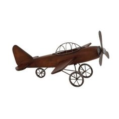 Woodland Imports Fascinating Styled Wood Metal Airplane Sculpture