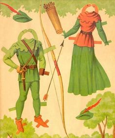 The Story of Robin Hood and Maid Marian- archery outfits --Vintage Paper doll