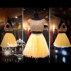 Charming Gold Yellow Two Piece Short Prom Homecoming Dresses With Sleeves Crop Top Heavy Beading Tulle Girls Party Gown 2017