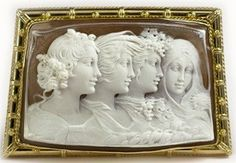 This shell cameo representing the four seasons of the year was carved by prof. Noto