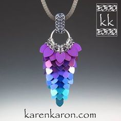 Just before Christmas I received some Tiny Anodized Titanium Scales from @wireworkdesigns. They come in flat and curved styles. The colors are beautiful! Here's my Cascade Pendant made with the flat style scales. A tutorial for my Cascade Pendant and Earrings is available at www.karenkaron.com. #chainmaille #chainmail #chainmaillejewelry #scalemaille #scalemail #scalemaillejewelry #handmadejewelry #pendant #tinyscales #jewelry #jewellery #karenkaron