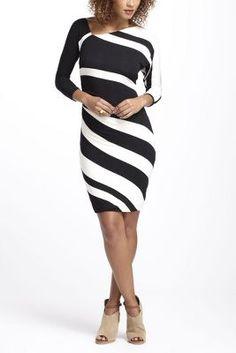 ruched stripes column dress