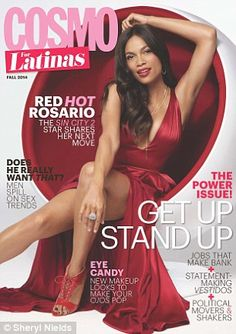 """She plays a sexy dominatrix in the new sequel Sin City: A Dame To Kill For..But Rosario Dawson revealed in the September issue of Cosmopolitan For Latinas that she wasn't always as sensual as she may appear in her movies.""..I need to go see this movie!.. #RosarioDawson #SinCity2"