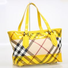 BURBERRY Auth Tote Bag Yellow Beige Enamel PVC Leather Free Ship Mint #7604 #BURBERRY #TotesShoppers