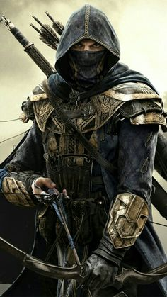 m Ranger Medium Armor Cloak Longbow Longsword male Traveler lg Ninja Kunst, Arte Ninja, Ninja Art, Fantasy Armor, Dark Fantasy Art, Medieval Fantasy, Fantasy Art Warrior, Dark Warrior, Warrior Angel