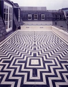 geometric tile patio