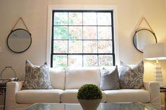 Dark Window Trim; Transitional Living Room by Caroline Dilbeck of Organize Nashville