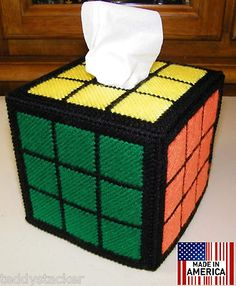 Rubik's Rubiks Rubix Cube Tissue Box Cover Solved Ver. Hand Made Big Bang Theory.Solid Colors 24.99 or make us a fair and reasonable offer and we will accecpt.Quality hand stitched item.
