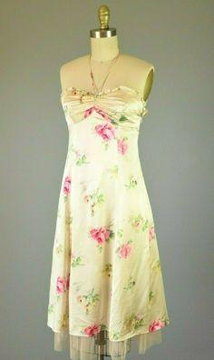 Robe de soirée fête rose robe de cocktail vintage bandeau ceinture xs s 34 NEUF 36