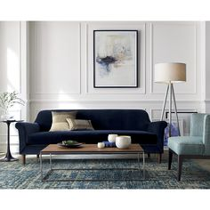 Designed by Russell Pinch, the sofa is detailed with smart topstitching and tapered turned legs of solid American walnut. The Cullen II Roll Arm Velvet Sofa is a Crate and Barrel exclusive. Formal Living Rooms, Living Room Sofa, Living Room Decor, Blue Velvet Sofa Living Room, Casa Milano, Interior Decorating, Interior Design, Classic Interior, Interior Inspiration