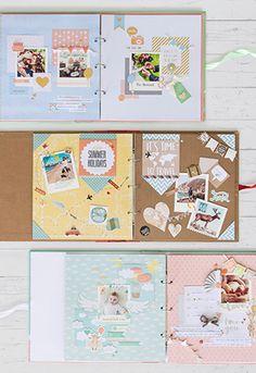 Überblick über die Scrapbooksets von Fotokasten mit den schönsten Scrapbook Layouts #scrapbooking #scrapbook