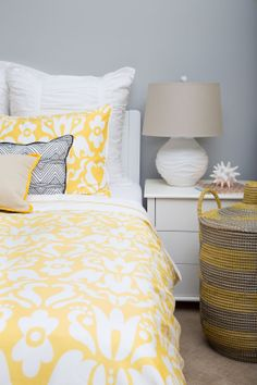The happiest duvet cover.  The Montgomery Yellow as seen in co-founder Karin's guest bedroom.  Featured in housebeautiful.com
