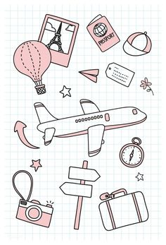 Hand drawn travel element vector set free image by marinemynt 679199187535615701 # Bullet Journal Banner, Bullet Journal Lettering Ideas, Bullet Journal Notebook, Bullet Journal Ideas Pages, Bullet Journal Inspiration, Bullet Journal Travel, Travel Doodles, Easy Doodle Art, Cute Easy Drawings