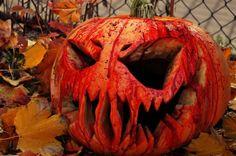 Great spooky faced jack o lantern pumpkin!
