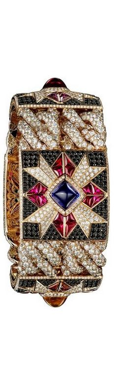 Giampiero-Bodino-Rosa-Dei-Venti-Theme-Bracelet Giampiero Bodino Rosa dei Venti bracelet in pink gold set with an array of coloured gemstones including red spinel, blue sapphire, yellow sapphire, amethyst and diamonds.