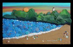 Scorcio di Puntala, quadro realizzato mediante foto del cliente. Assemblaggio di pietre dipinte, spago, metallo e legno. Foreshortening of ...